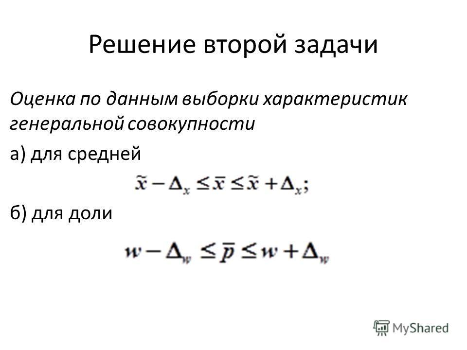 Решение второй задачи Оценка по данным выборки характеристик генеральной совокупности а) для средней б) для доли