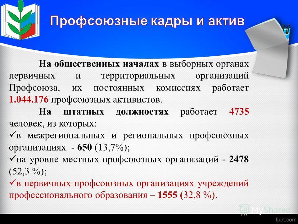 На общественных началах в выборных органах первичных и территориальных организаций Профсоюза, их постоянных комиссиях работает 1.044.176 профсоюзных активистов. На штатных должностях работает 4735 человек, из которых: в межрегиональных и региональных