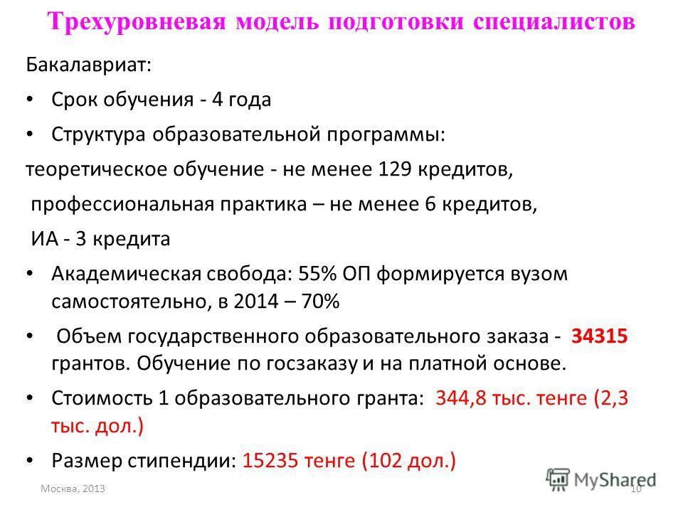 Москва, 201310 Трехуровневая модель подготовки специалистов Бакалавриат: Срок обучения - 4 года Структура образовательной программы: теоретическое обучение - не менее 129 кредитов, профессиональная практика – не менее 6 кредитов, ИА - 3 кредита Акаде
