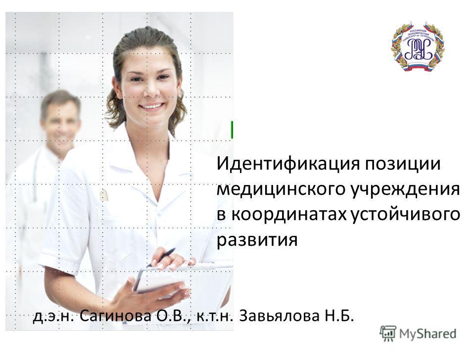 Идентификация позиции медицинского учреждения в координатах устойчивого развития д.э.н. Сагинова О.В., к.т.н. Завьялова Н.Б.