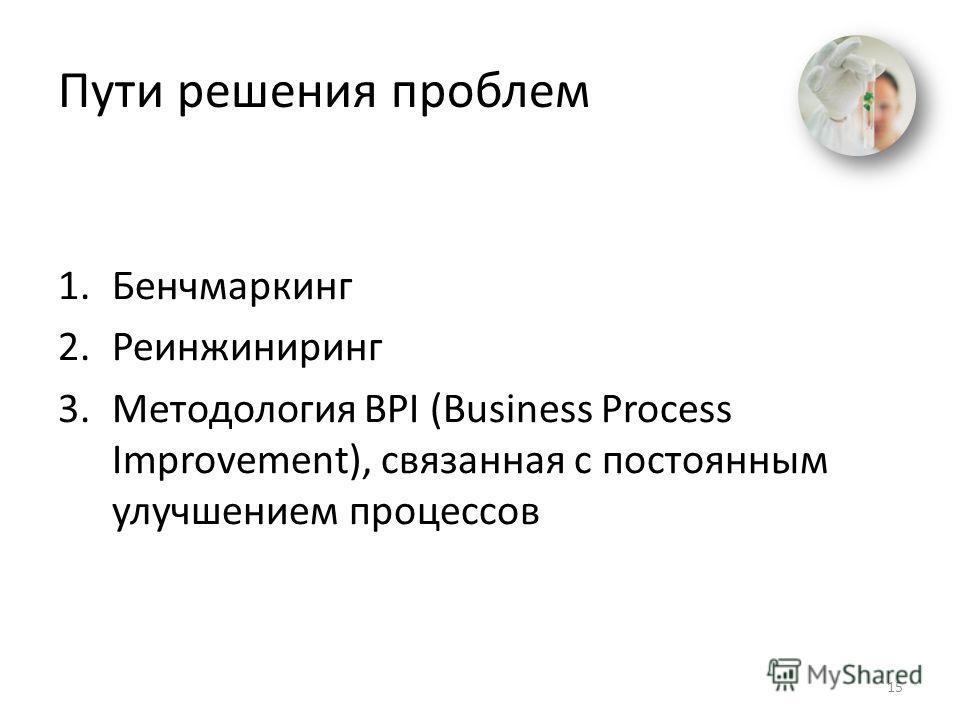 Пути решения проблем 1. Бенчмаркинг 2. Реинжиниринг 3. Методология BPI (Business Process Improvement), связанная с постоянным улучшением процессов 15