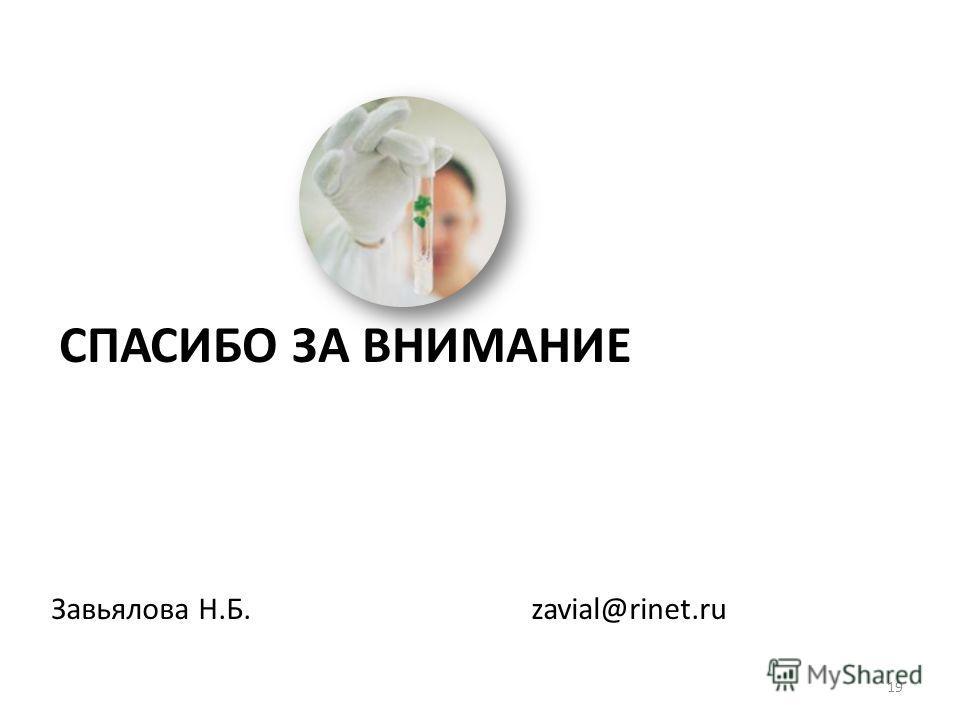СПАСИБО ЗА ВНИМАНИЕ Завьялова Н.Б. zavial@rinet.ru 19