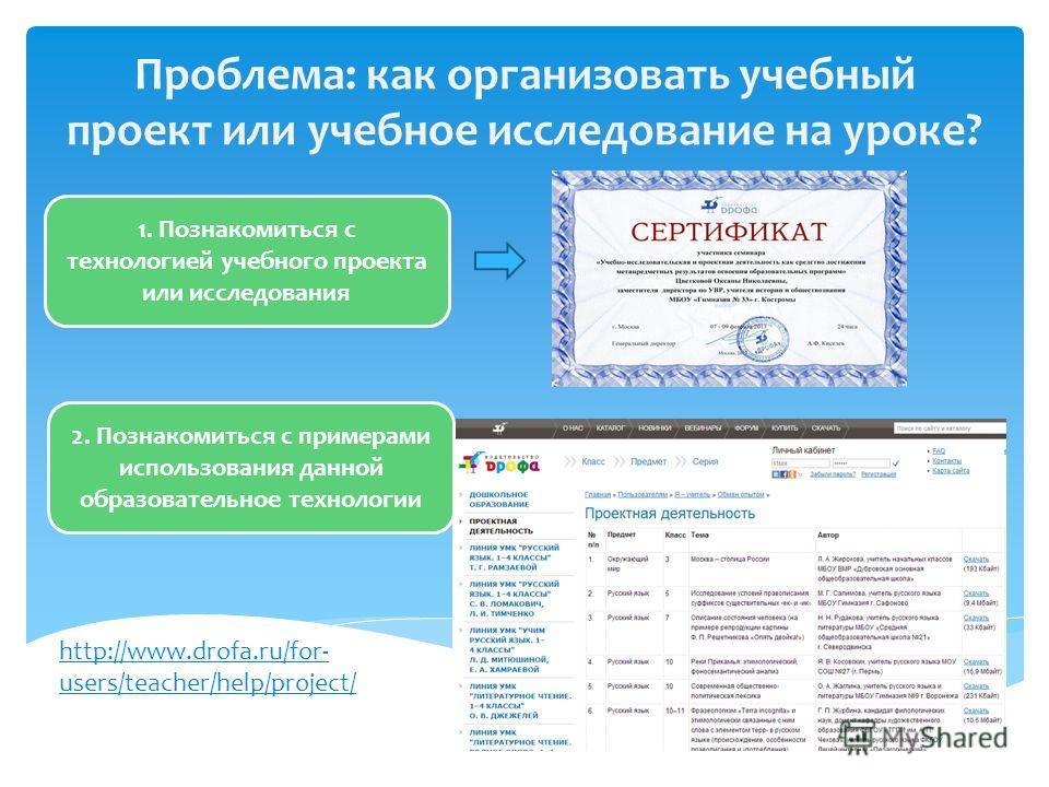 Проблема: как организовать учебный проект или учебное исследование на уроке? 1. Познакомиться с технологией учебного проекта или исследования http://www.drofa.ru/for- users/teacher/help/project/ 2. Познакомиться с примерами использования данной образ