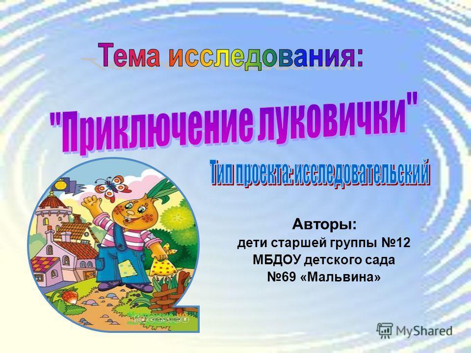 Авторы: дети старшей группы 12 МБДОУ детского сада 69 «Мальвина»