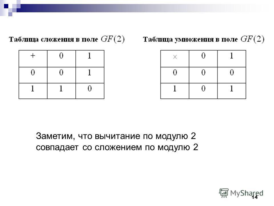 14 Заметим, что вычитание по модулю 2 совпадает со сложением по модулю 2