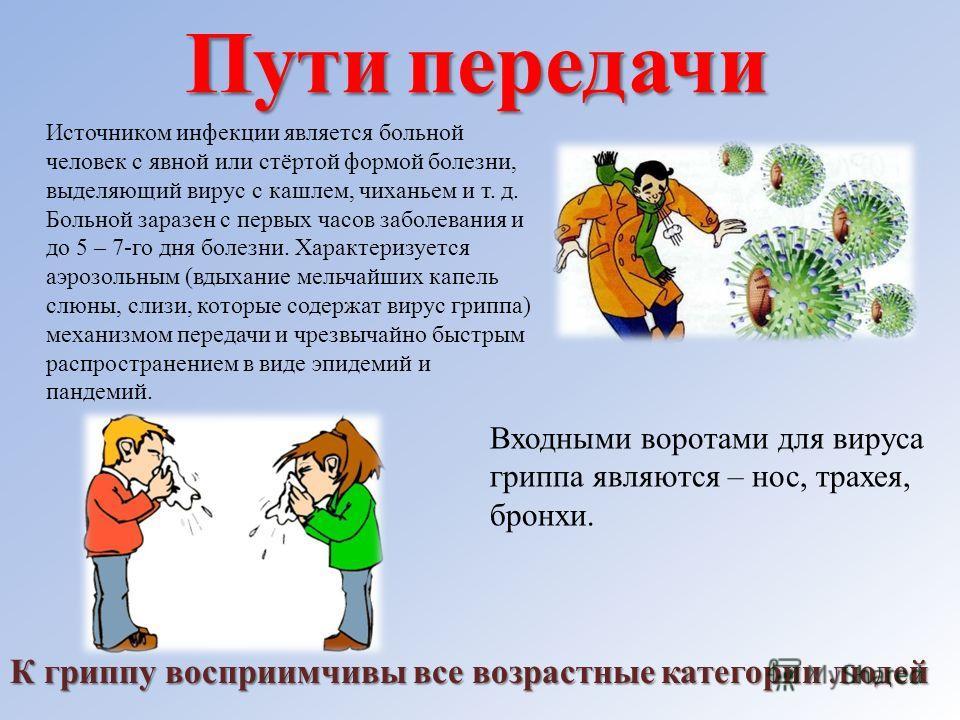 Пути передачи Источником инфекции является больной человек с явной или стёртой формой болезни, выделяющий вирус с кашлем, чиханьем и т. д. Больной заразен с первых часов заболевания и до 5 – 7-го дня болезни. Характеризуется аэрозольным (вдыхание мел