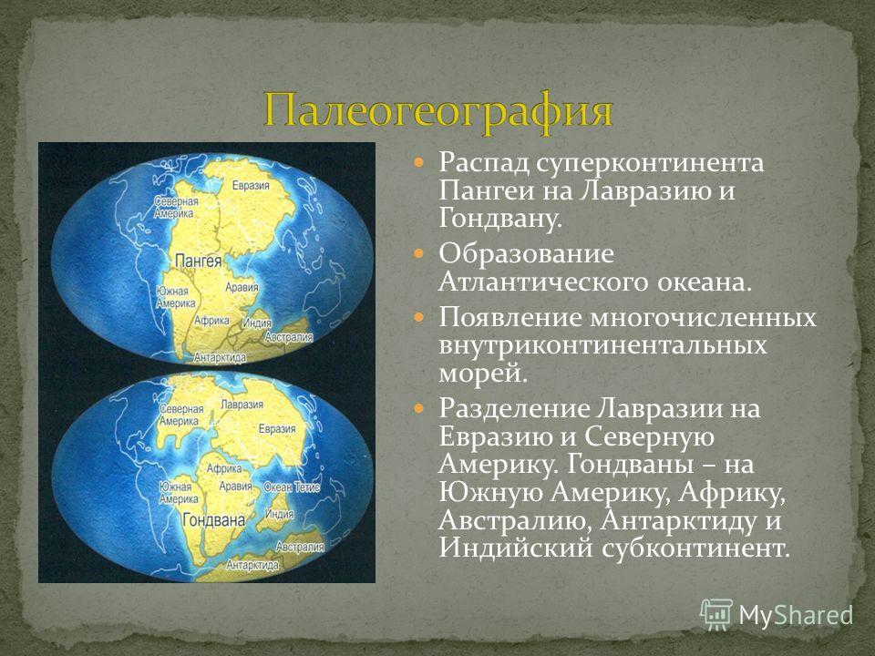 Распад суперконтинента Пангеи на Лавразию и Гондвану. Образование Атлантического океана. Появление многочисленных внутриконтинентальных морей. Разделение Лавразии на Евразию и Северную Америку. Гондваны – на Южную Америку, Африку, Австралию, Антаркти