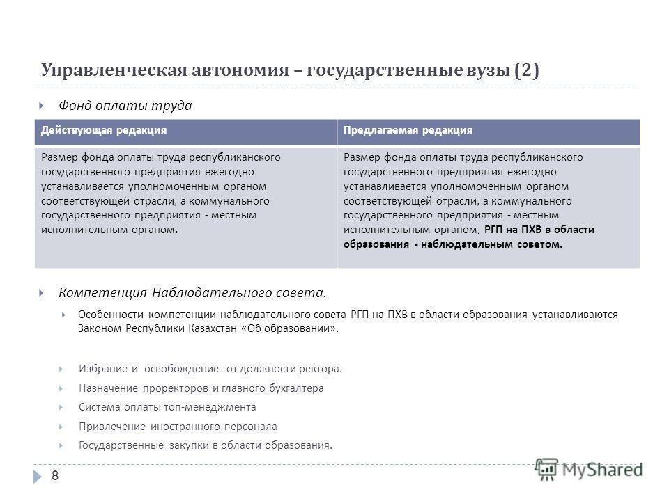 8 Управленческая автономия – государственные вузы (2) Фонд оплаты труда Компетенция Наблюдательного совета. Особенности компетенции наблюдательного совета РГП на ПХВ в области образования устанавливаются Законом Республики Казахстан « Об образовании
