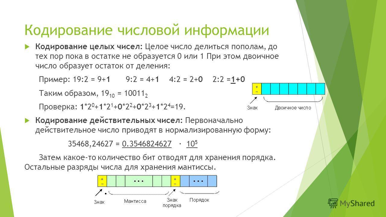 Кодирование числовой информации Кодирование целых чисел: Целое число делиться пополам, до тех пор пока в остатке не образуется 0 или 1 При этом двоичное число образует остаток от деления: Пример: 19:2 = 9+1 9:2 = 4+14:2 = 2+02:2 =1+0 Таким образом, 1