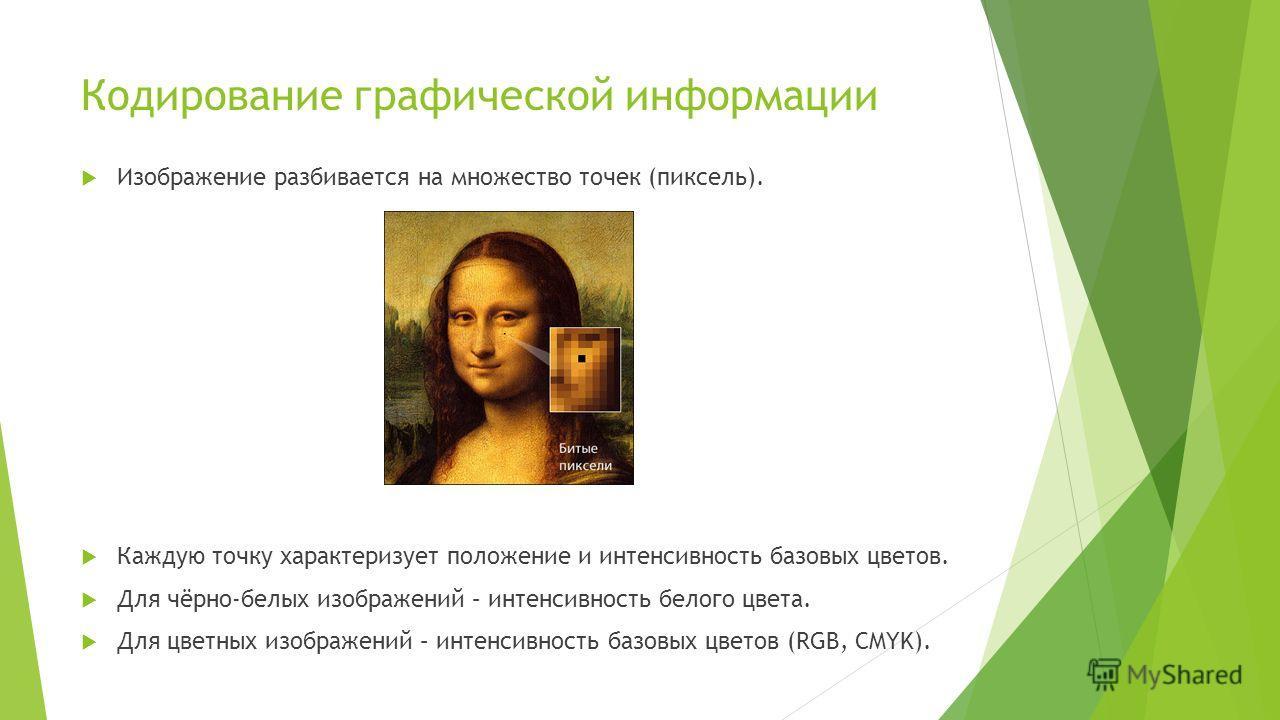 Кодирование графической информации Изображение разбивается на множество точек (пиксель). Каждую точку характеризует положение и интенсивность базовых цветов. Для чёрно-белых изображений – интенсивность белого цвета. Для цветных изображений – интенсив