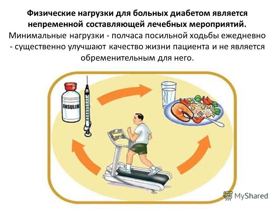 Физические нагрузки для больных диабетом является непременной составляющей лечебных мероприятий. Минимальные нагрузки - полчаса посильной ходьбы ежедневно - существенно улучшают качество жизни пациента и не является обременительным для него.
