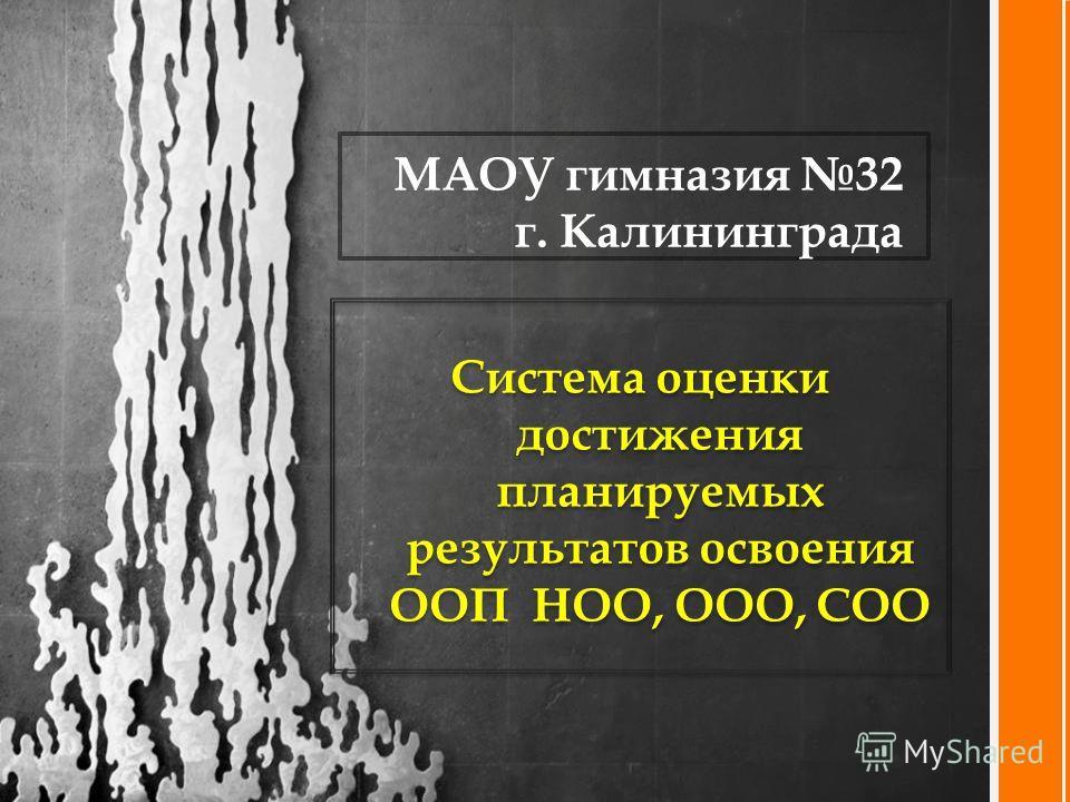 Система оценки достижения планируемых результатов освоения ООП НОО, ООО, СОО МАОУ гимназия 32 г. Калининграда