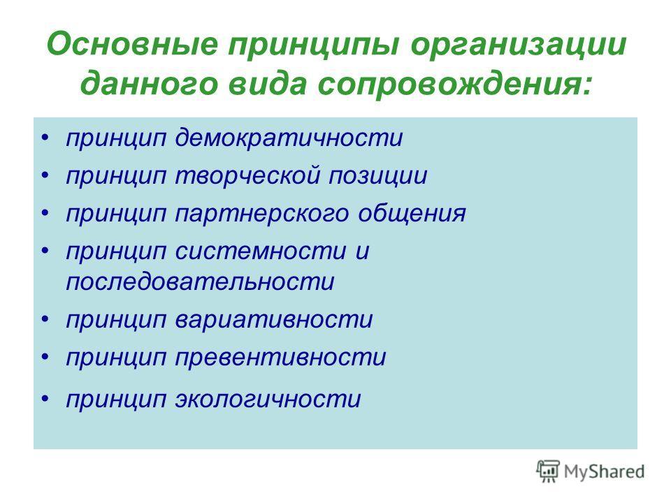 Основные принципы организации данного вида сопровождения: принцип демократичности принцип творческой позиции принцип партнерского общения принцип системности и последовательности принцип вариативности принцип превентивности принцип экологичности