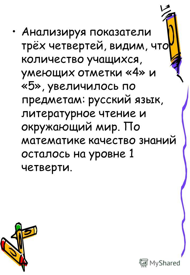 Анализируя показатели трёх четвертей, видим, что количество учащихся, умеющих отметки «4» и «5», увеличилось по предметам: русский язык, литературное чтение и окружающий мир. По математике качество знаний осталось на уровне 1 четверти.