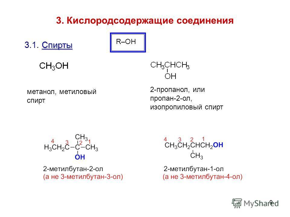 9 3. Кислородсодержащие соединения R–OH Спирты 3.1. Спирты 2-пропанол, или пропан-2-ол, изопропиловый спирт метанол, метиловый спирт