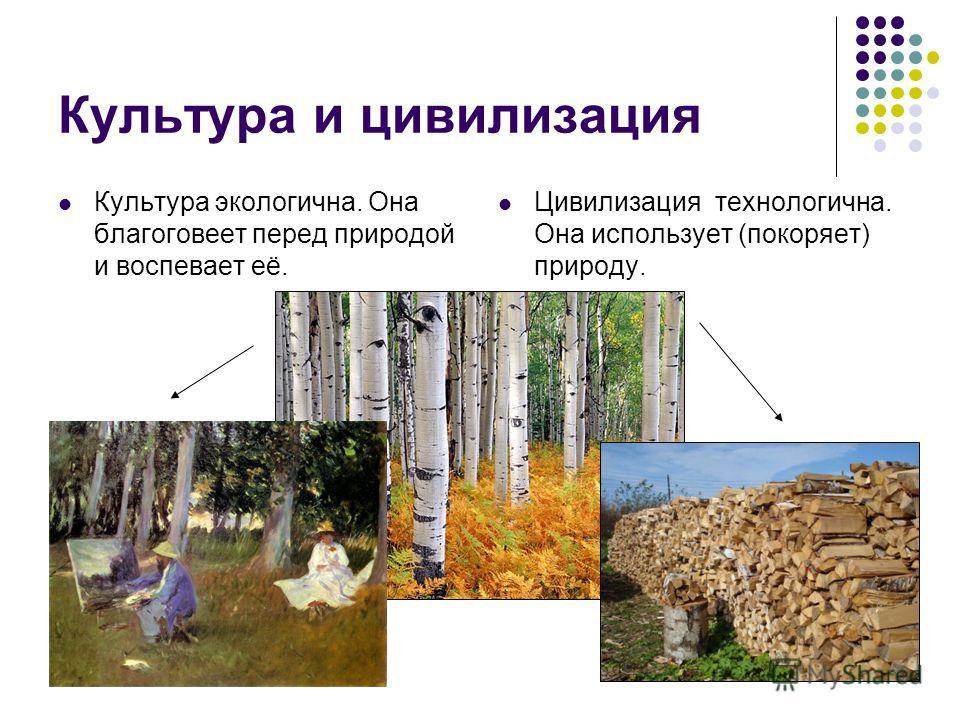 Культура и цивилизация Культура экологична. Она благоговеет перед природой и воспевает её. Цивилизация технологична. Она использует (покоряет) природу.