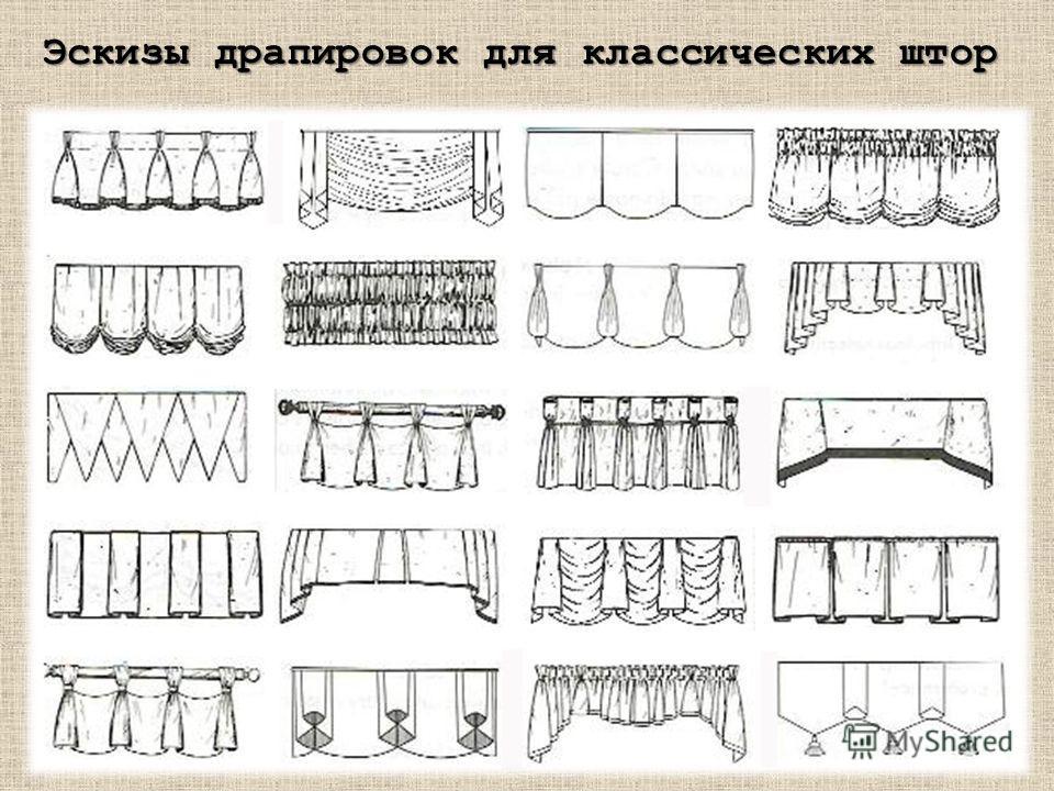 Эскизы драпировок для классических штор