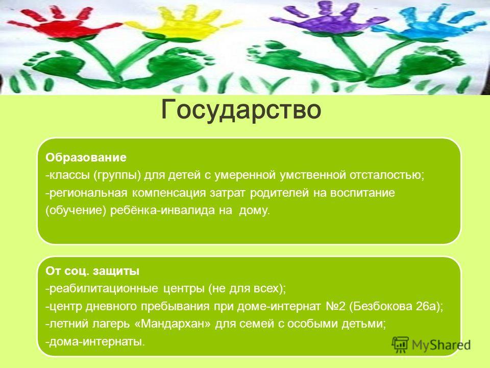 Государство Образование -классы (группы) для детей с умеренной умственной отсталостью; -региональная компенсация затрат родителей на воспитание (обучение) ребёнка-инвалида на дому. От соц. защиты -реабилитационные центры (не для всех); -центр дневног