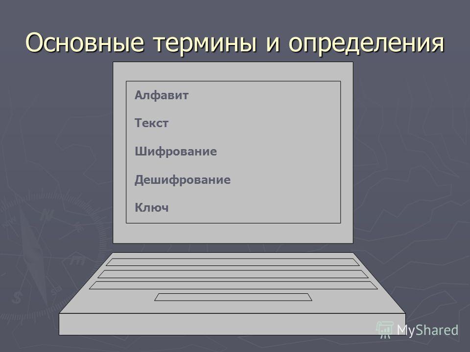 Основные термины и определения Алфавит Текст Шифрование Дешифрование Ключ