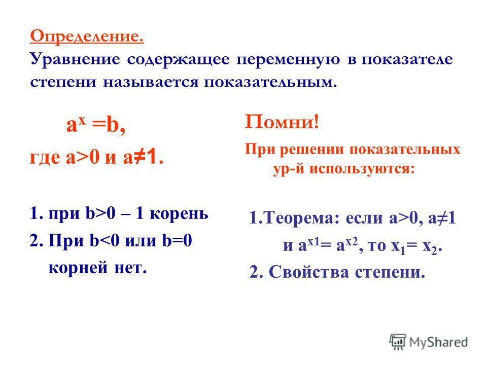 Определение. Уравнение содержащее переменную в показателе степени называется показательным. a x =b, где a>0 и a1. 1. при b>0 – 1 корень 2. При b0, a1 и a х 1 = a х 2, то х 1 = х 2. 2. Свойства степени.