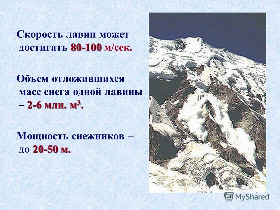 80-100 Скорость лавин может достигать 80-100 м/сек. 2-6 млн. м 3. Объем отложившихся масс снега одной лавины – 2-6 млн. м 3. 20-50 м. Мощность снежников – до 20-50 м.