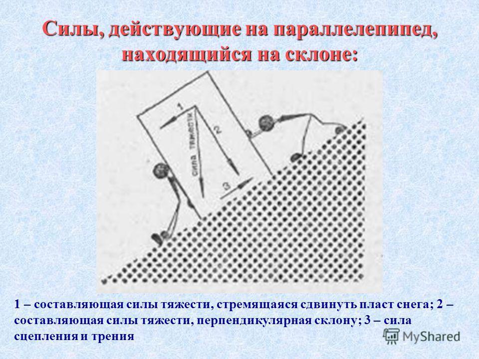 Силы, действующие на параллелепипед, находящийся на склоне: 1 – составляющая силы тяжести, стремящаяся сдвинуть пласт снега; 2 – составляющая силы тяжести, перпендикулярная склону; 3 – сила сцепления и трения