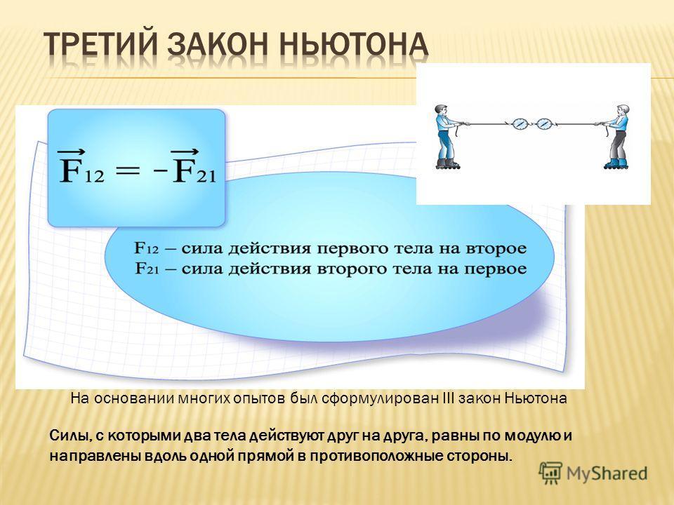 На основании многих опытов был сформулирован III закон Ньютона Cилы, с которыми два тела действуют друг на друга, равны по модулю и направлены вдоль одной прямой в противоположные стороны.