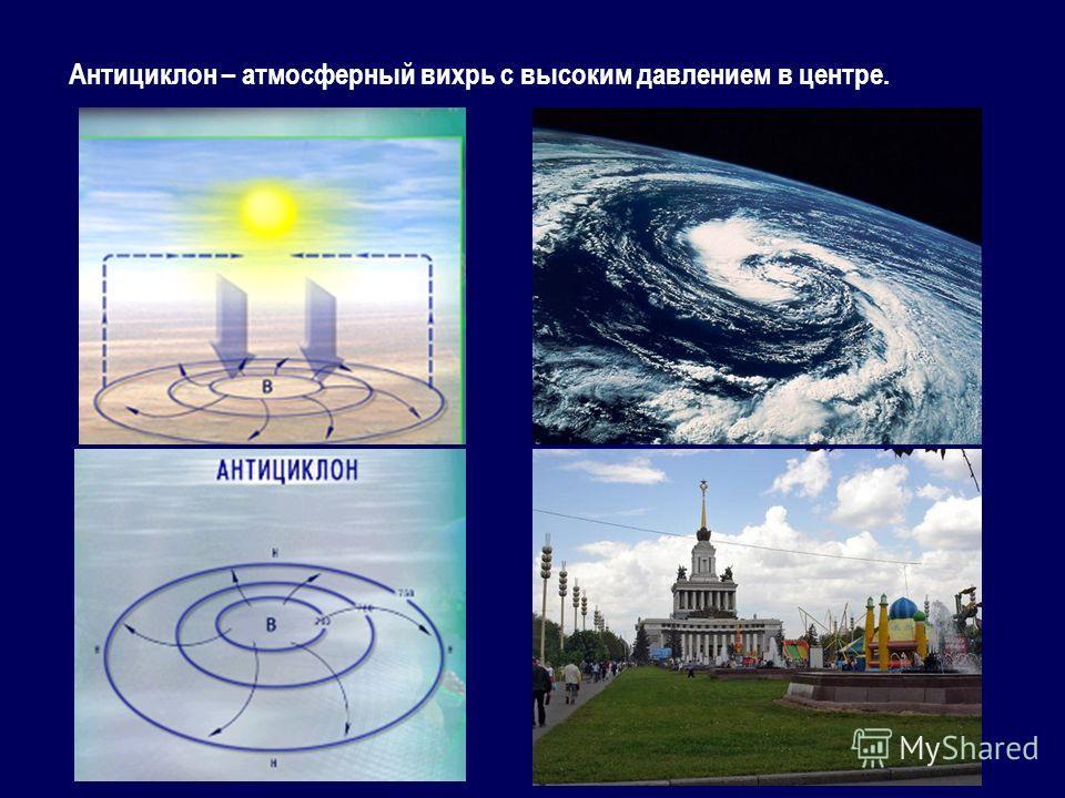 Антициклон – атмосферный вихрь с высоким давлением в центре.