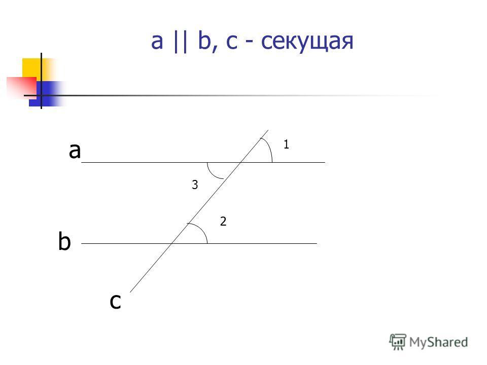 a || b, с - секущая 1 3 2 a b c