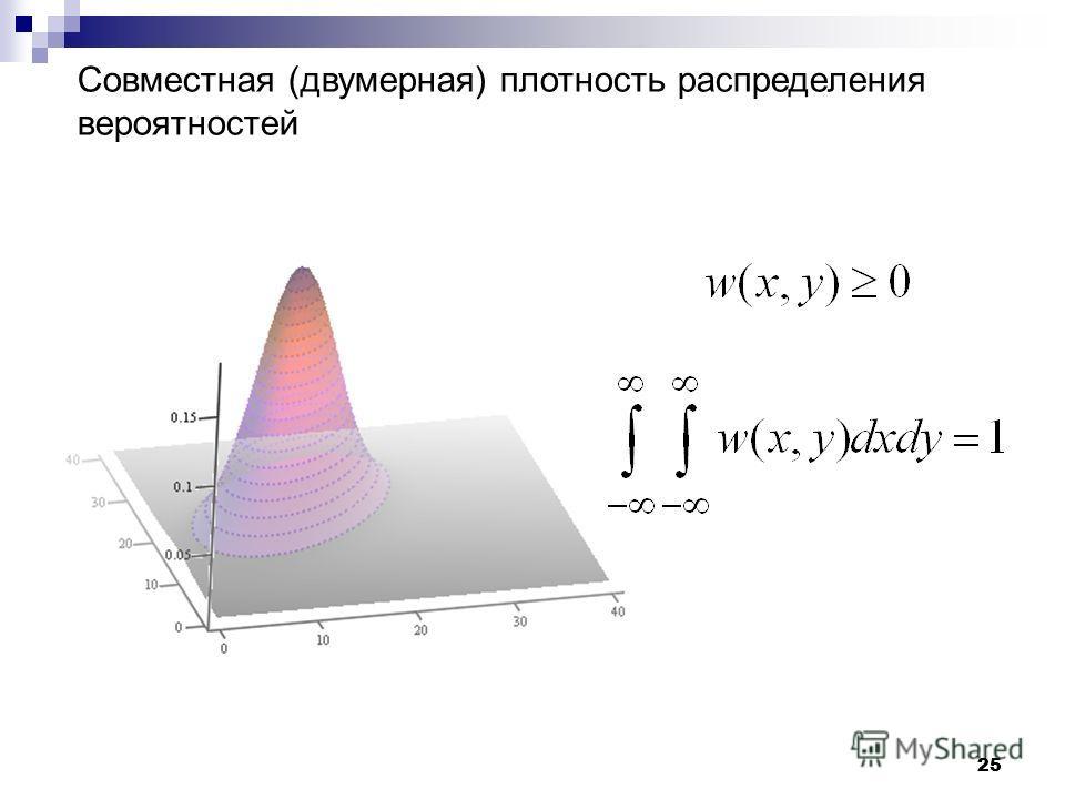 25 Совместная (двумерная) плотность распределения вероятностей