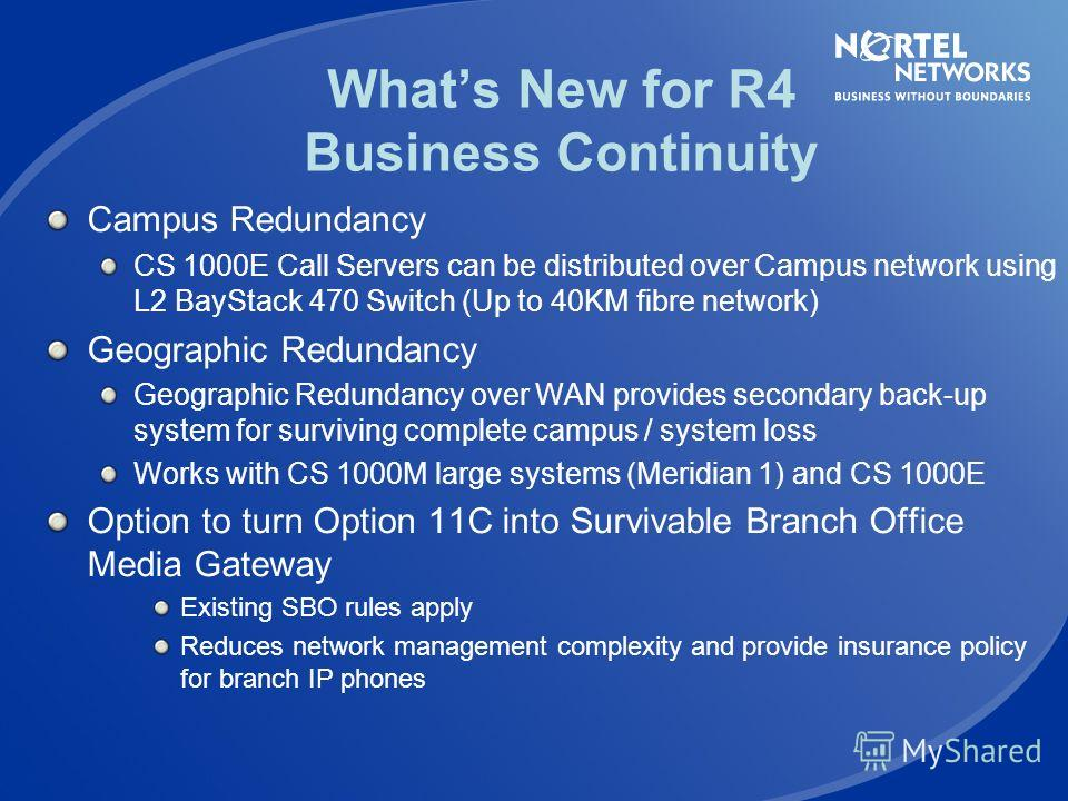 Whats New With R4 Business Drivers Communication Server 1000 R4 Features New Large IP PBX Platform Business Continuity Scalability IP Phone Services SIP Innovation Upgrading the Installed Base