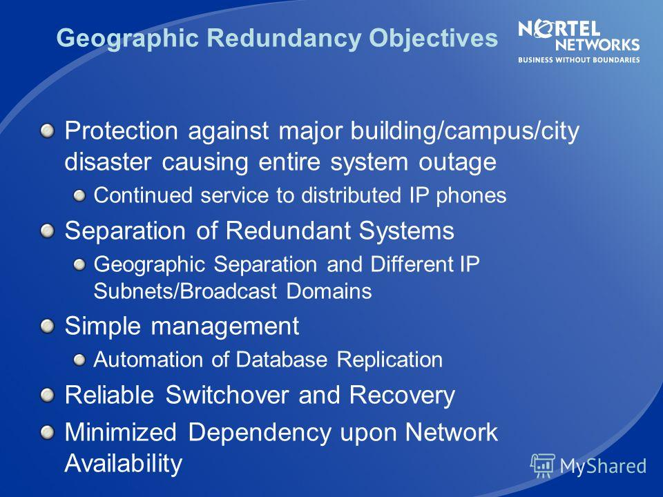 Geographic Redundancy - Characteristics PSTN Media Gateway 1000T (Mandatory for CS1000E, optional for CS 1000M) Signaling Server CS 1000 (E or M) LAN/WAN Secondary Primary User database replication from Primary to Secondary CS1000E and CS1000M Can ba