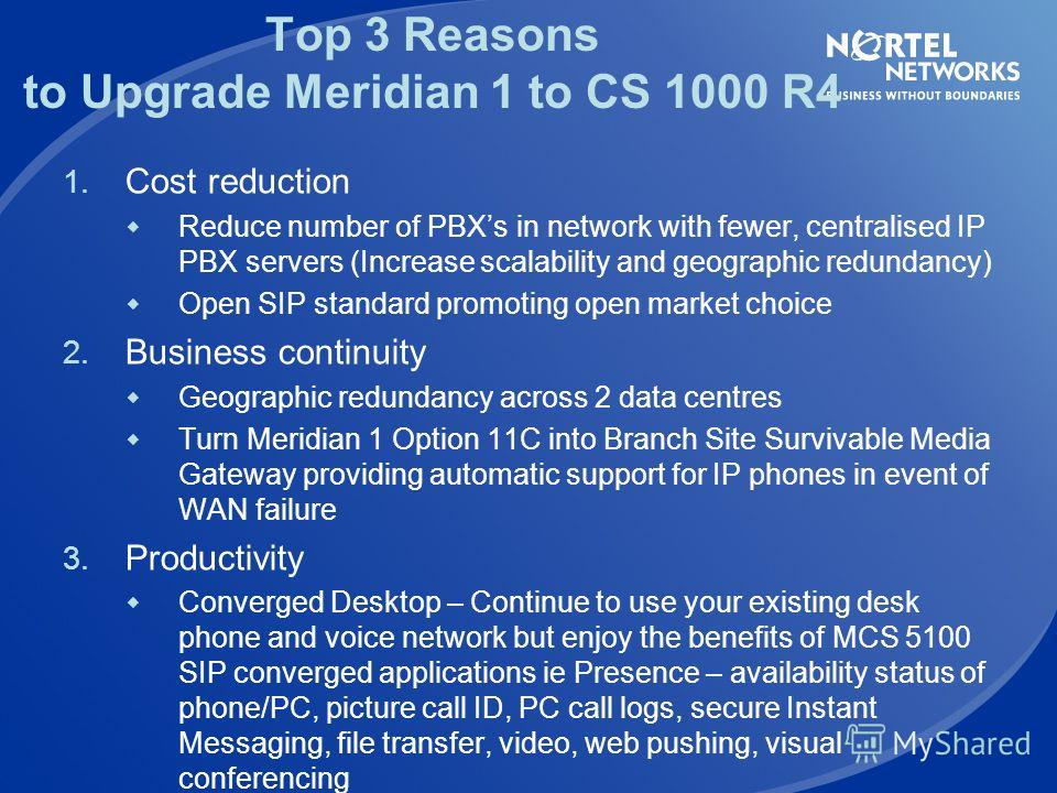 Easily expand from Meridian 1 to CS 1000(M or E) Add Signaling Server Media Gateways CS 1000 Call Server Converged Network Phones Centralised dialling plan IP phone management SIP/H323 Gateway support Re-use existing phones Deploy IP phones New R4 fe