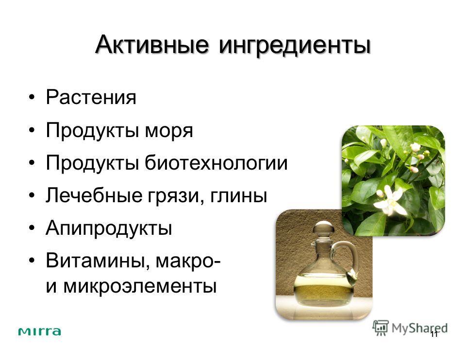Активные ингредиенты Растения Продукты моря Продукты биотехнологии Лечебные грязи, глины Апипродукты Витамины, макро- и микроэлементы 11