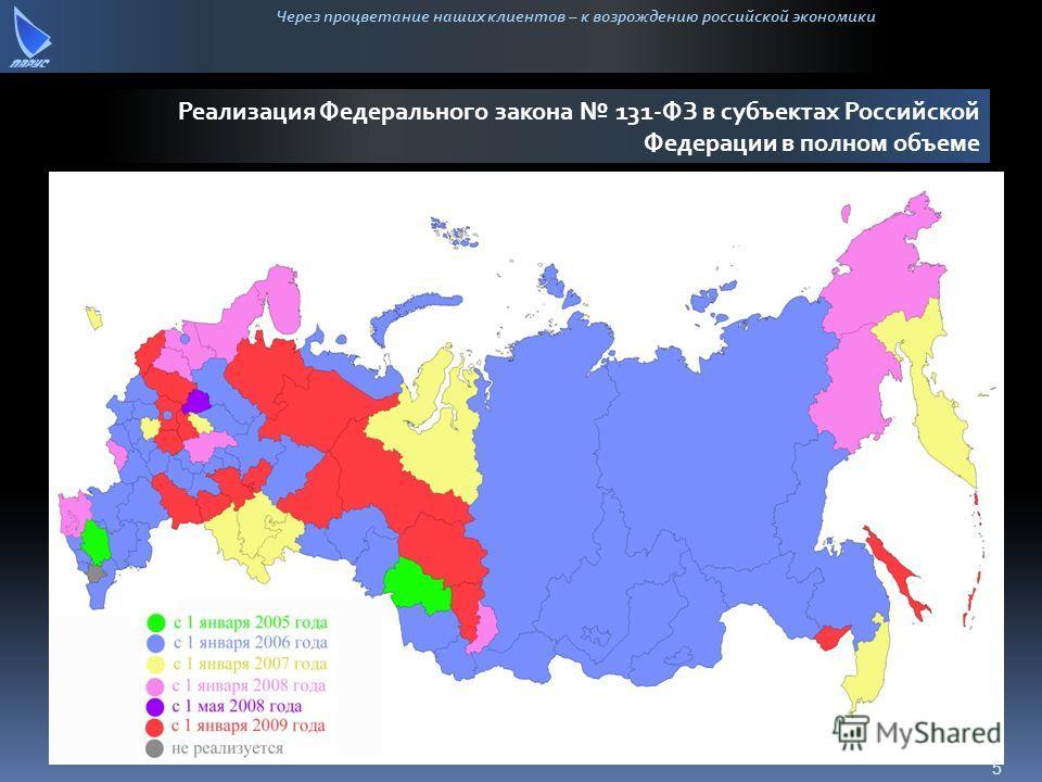 Через процветание наших клиентов – к возрождению российской экономики Реализация Федерального закона 131-ФЗ в субъектах Российской Федерации в полном объеме 5