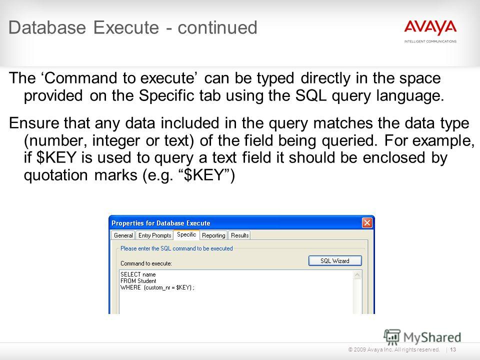 © 2009 Avaya Inc. All rights reserved.13 Database Execute - continued The Command to execute can be typed directly in the space provided on the Specific tab using the SQL query language. Ensure that any data included in the query matches the data typ