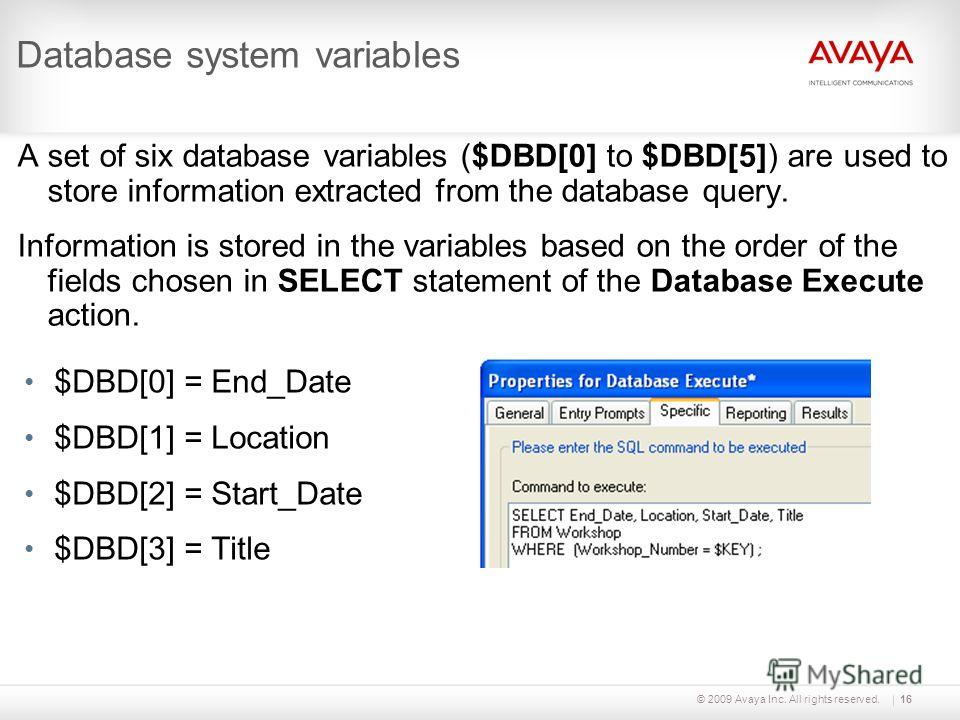 © 2009 Avaya Inc. All rights reserved.16 Database system variables A set of six database variables ($DBD[0] to $DBD[5]) are used to store information extracted from the database query. Information is stored in the variables based on the order of the