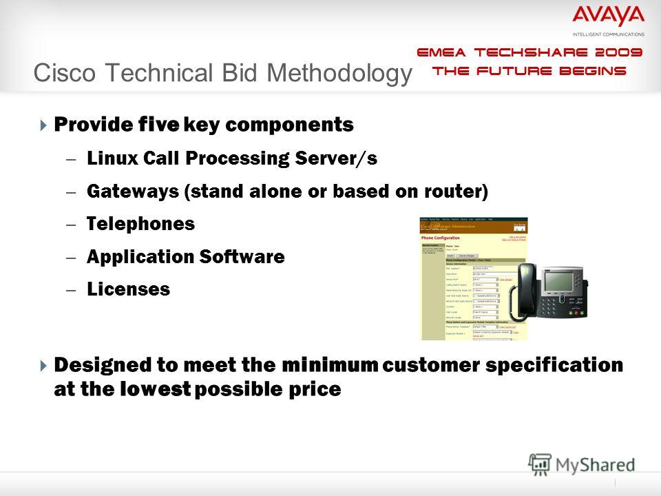 EMEA Techshare 2009 The Future Begins Provide five key components – Linux Call Processing Server/s – Gateways (stand alone or based on router) – Telephones – Application Software – Licenses Designed to meet the minimum customer specification at the l