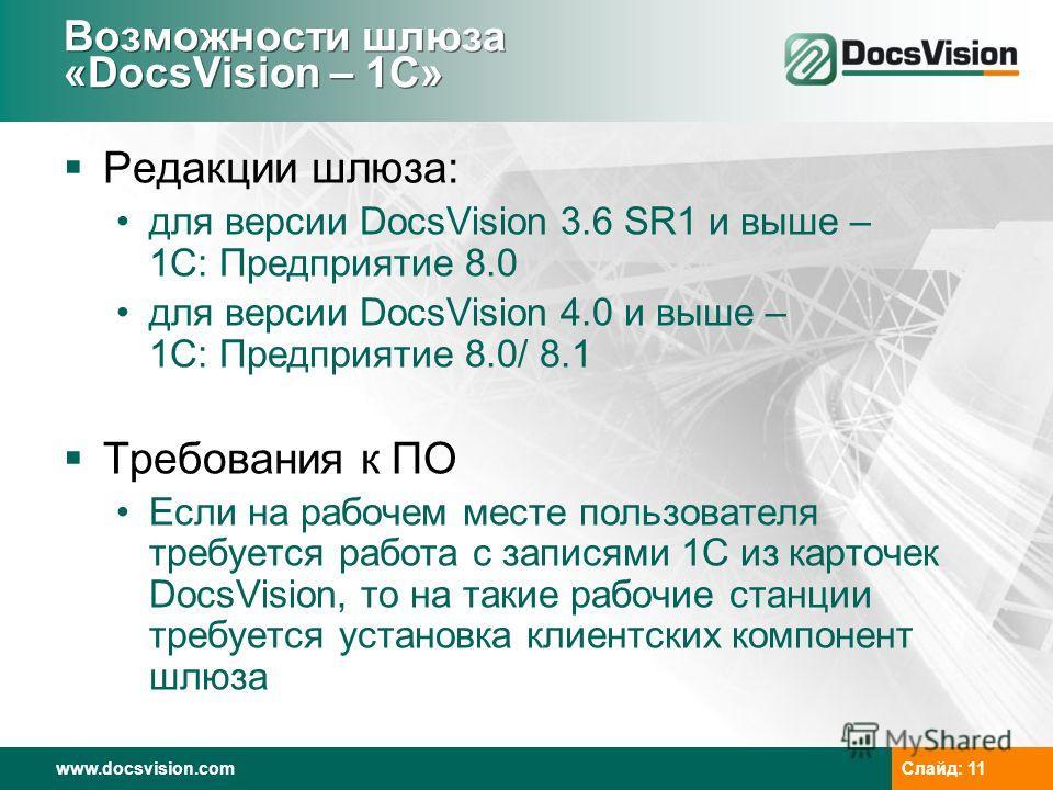 www.docsvision.com Слайд: 11 Возможности шлюза «DocsVision – 1C» Редакции шлюза: для версии DocsVision 3.6 SR1 и выше – 1С: Предприятие 8.0 для версии DocsVision 4.0 и выше – 1С: Предприятие 8.0/ 8.1 Требования к ПО Если на рабочем месте пользователя