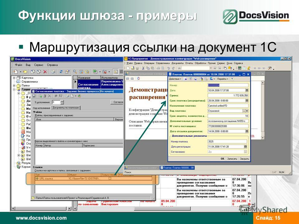 www.docsvision.com Слайд: 15 Функции шлюза - примеры Маршрутизация ссылки на документ 1С