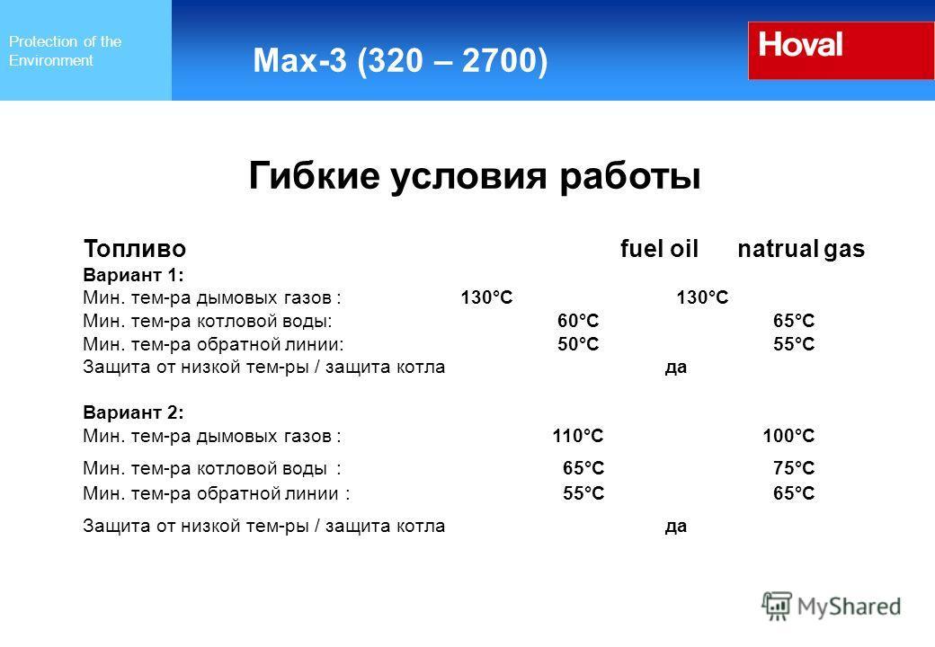Protection of the Environment Max-3 (320 – 2700) Гибкие условия работы Топливо fuel oil natrual gas Вариант 1: Мин. тем-ра дымовых газов : 130°C 130°C Мин. тем-ра котловой воды: 60°C 65°C Мин. тем-ра обратной линии: 50°C 55°C Защита от низкой тем-ры
