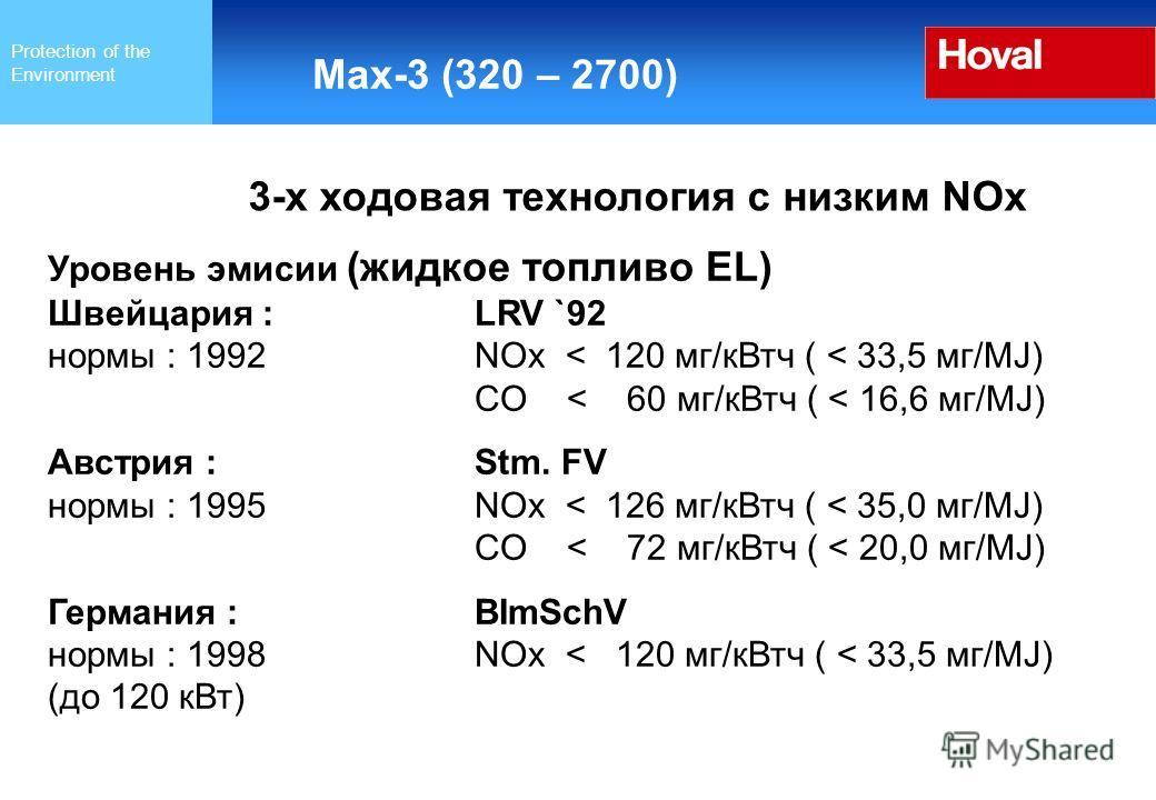 Protection of the Environment Max-3 (320 – 2700) 3-х ходовая технология с низким NOx Уровень эмиссии (жидкое топливо EL) Швейцария :LRV `92 нормы : 1992 NOx < 120 мг/к Втч ( < 33,5 мг/MJ) CO < 60 мг/к Втч ( < 16,6 мг/MJ) Австрия :Stm. FV нормы : 1995