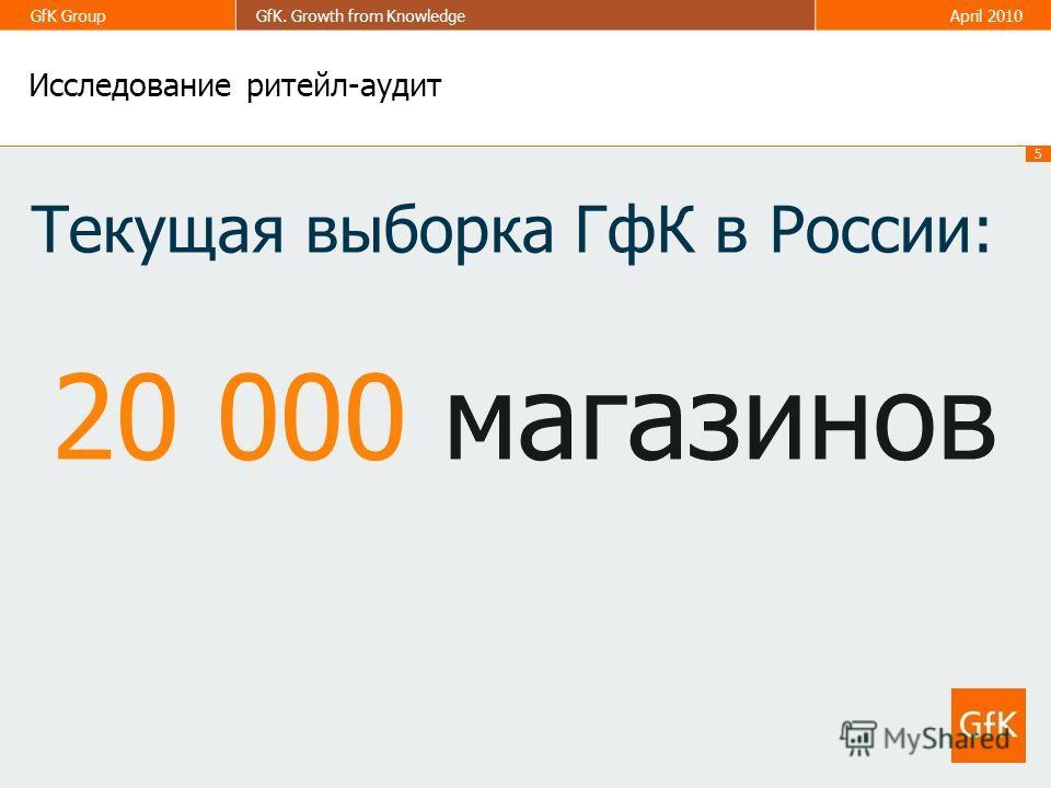 5 GfK GroupGfK. Growth from KnowledgeApril 2010 Исследование ритейл-аудит Текущая выборка ГфК в России: 20 000 магазинов
