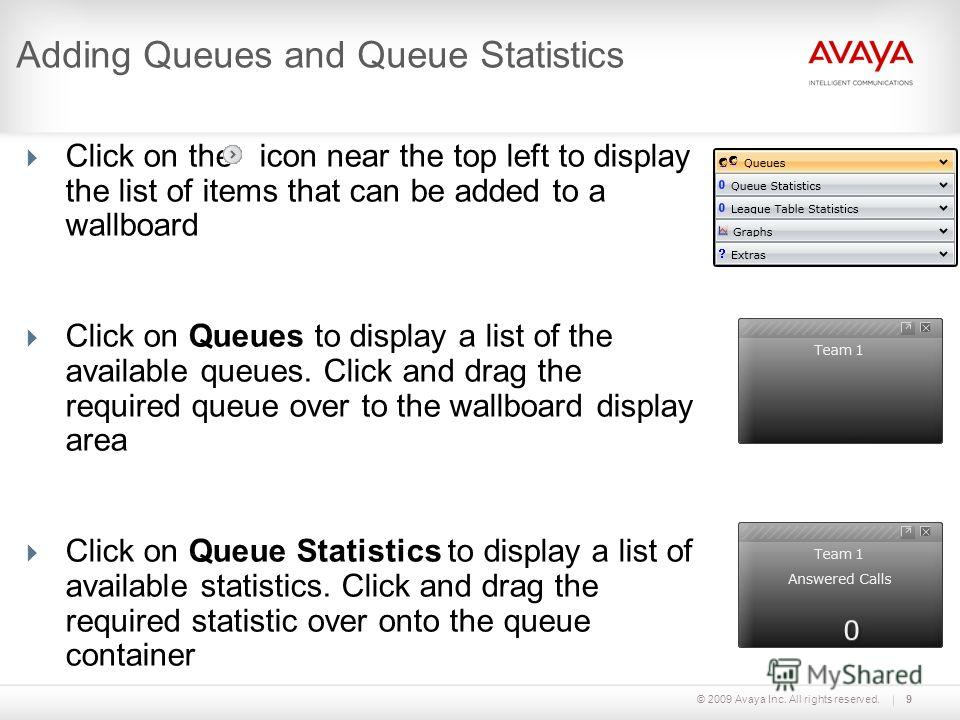 © 2009 Avaya Inc. All rights reserved.9 Adding Queues and Queue Statistics Click on the icon near the top left to display the list of items that can be added to a wallboard Click on Queues to display a list of the available queues. Click and drag the