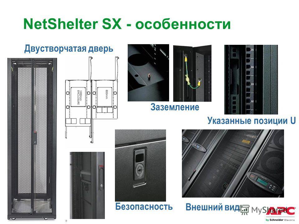 APC by Schneider Electric– Name – Date Двустворчатая дверь Указанные позиции U Заземление Безопасность NetShelter SX - особенности Внешний вид