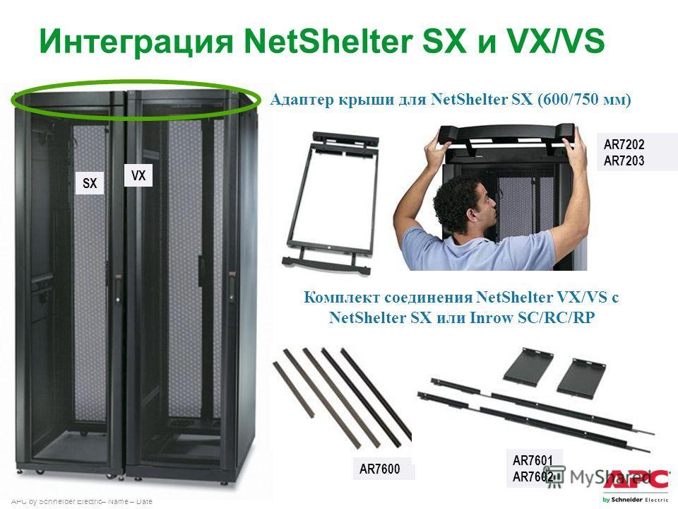 APC by Schneider Electric– Name – Date Адаптер крыши для NetShelter SX (600/750 мм) AR7202 AR7203 Комплект соединения NetShelter VX/VS с NetShelter SX или Inrow SC/RC/RP AR7600 Интеграция NetShelter SX и VX/VS SX VX AR7601 AR7602