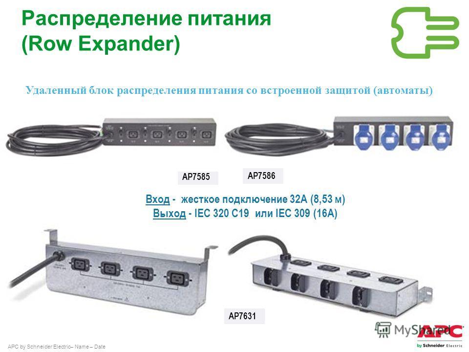APC by Schneider Electric– Name – Date Удаленный блок распределения питания со встроенной защитой (автоматы) AP7586 AP7585 Распределение питания (Row Expander) Вход - жесткое подключение 32А (8,53 м) Выход - IEC 320 С19 или IEC 309 (16А) AP7631