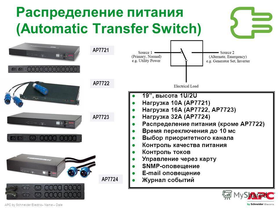 APC by Schneider Electric– Name – Date Распределение питания (Automatic Transfer Switch) AP7722 19, высота 1U/2U Нагрузка 10А (AP7721) Нагрузка 16А (AP7722, AP7723) Нагрузка 32А (AP7724) Распределение питания (кроме AP7722) Время переключения до 10 м