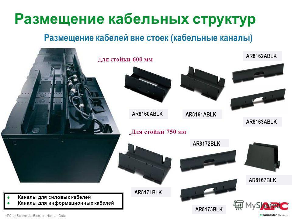APC by Schneider Electric– Name – Date AR8161ABLK AR8163ABLK AR8162ABLK Каналы для силовых кабелей Каналы для информационных кабелей AR8160ABLK Размещение кабелей вне стоек (кабельные каналы) Д ля стойки 600 мм Для стойки 750 мм AR8171BLK AR8173BLK A
