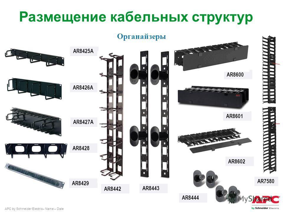 APC by Schneider Electric– Name – Date AR8425A AR8426A AR8427A AR8428 AR8442 AR8429 Органайзеры Размещение кабельных структур AR8600 AR8601 AR8602 AR7580 AR8443 AR8444